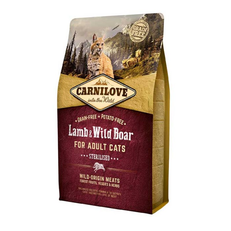 Carnilove Cat Sterilised Lamb & Wild Boar Στειρωμένα Αρνί & Αγριόχοιρο 2kg
