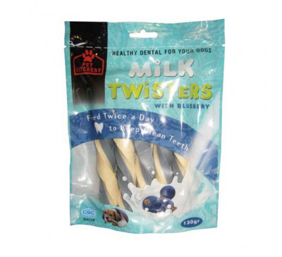 Pet Interest Milk Twisters Blueberry με Γεύση Μύρτιλο 130gr