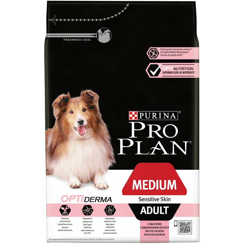 Pro Plan Dog Adult Medium Sensitive Skin Optiderma 3kg